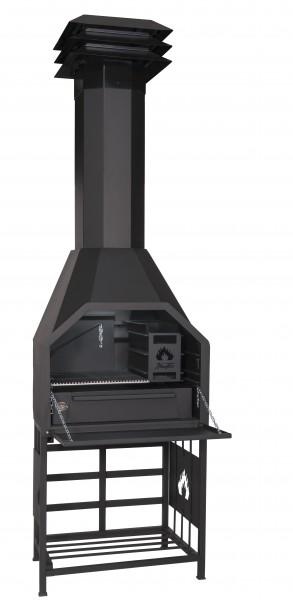 HomeFires Braai 800 mit Untergestell/Holzlager freistehend