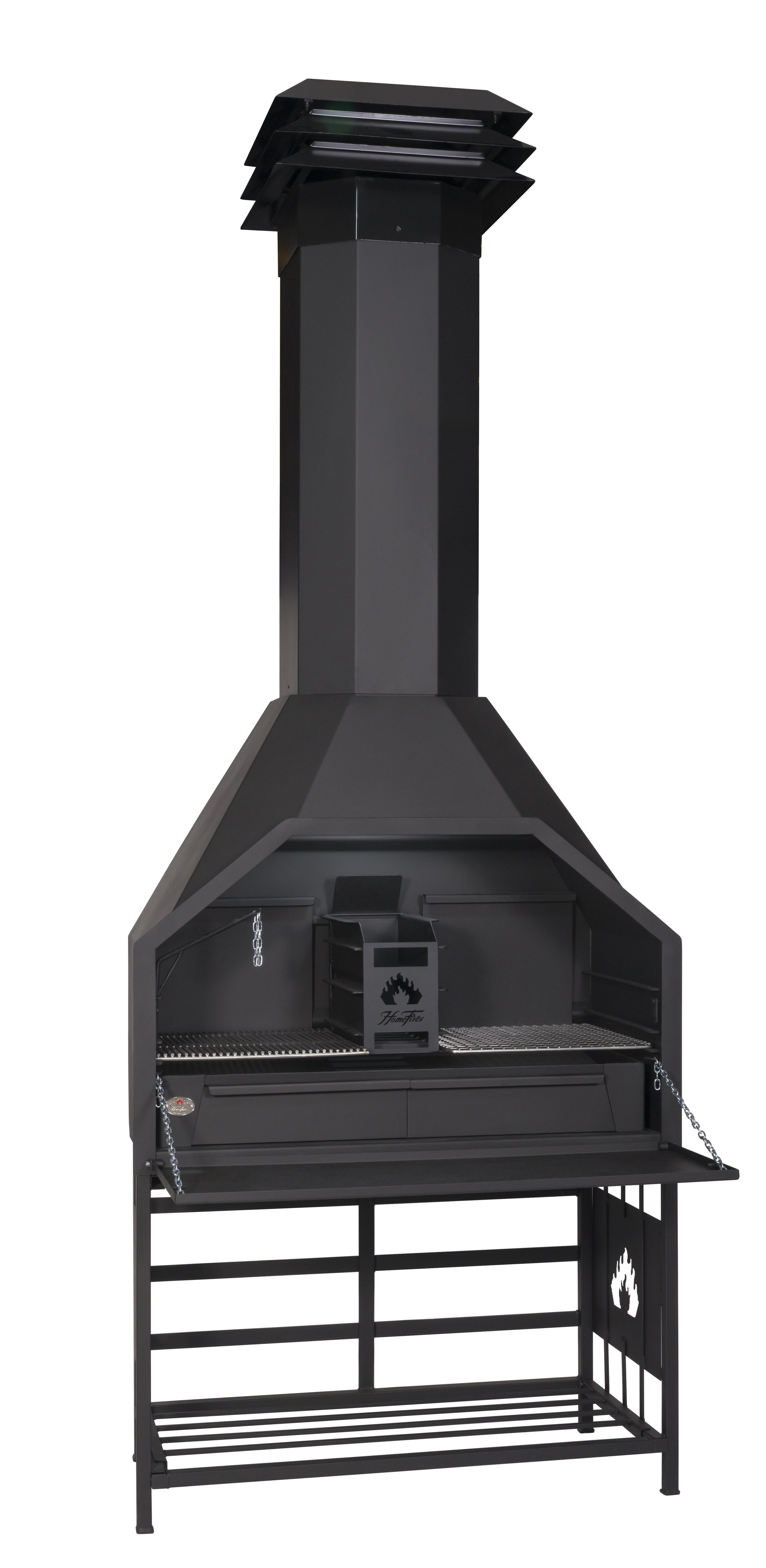 HomeFires Freistehender Grillkamin/Braai, Modell 1200 inkl. Holzlager/Untergestell