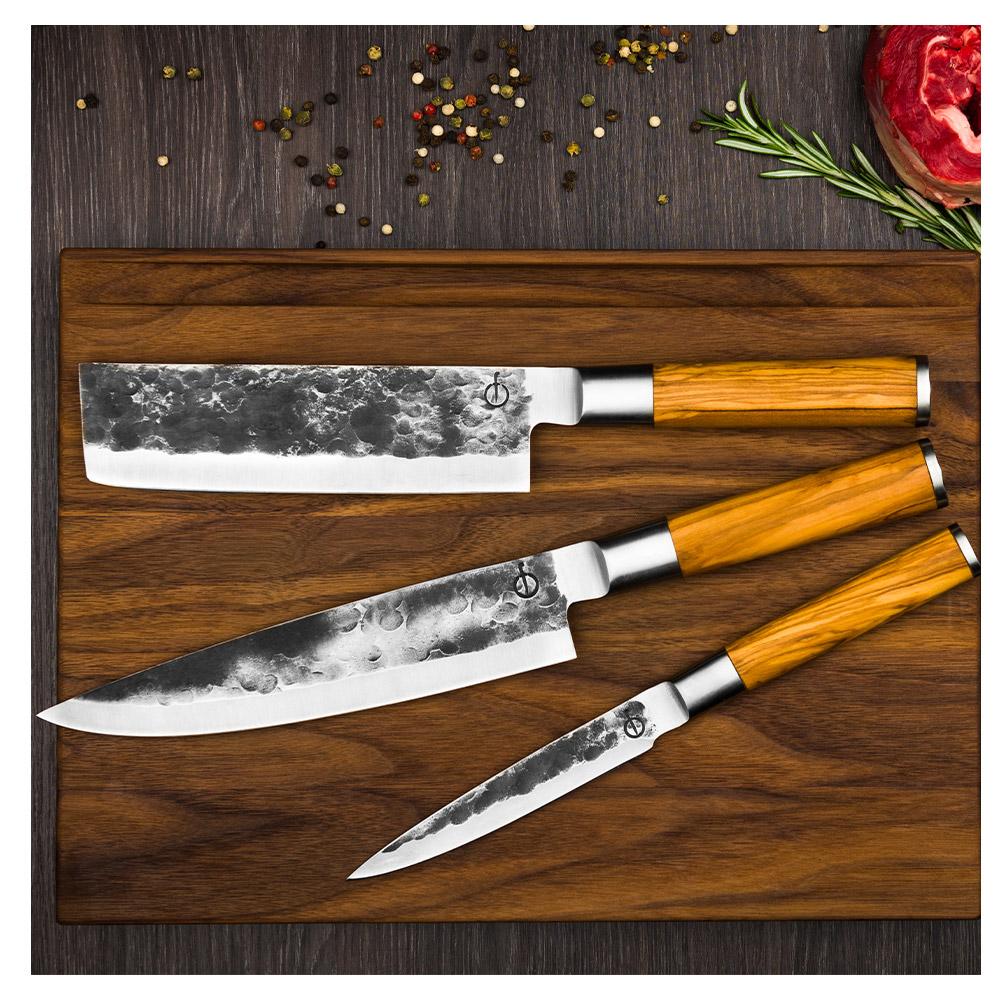 Forged olive 3-teiliges Messerset: Universalmesser, Kochmesser, Hackmesser