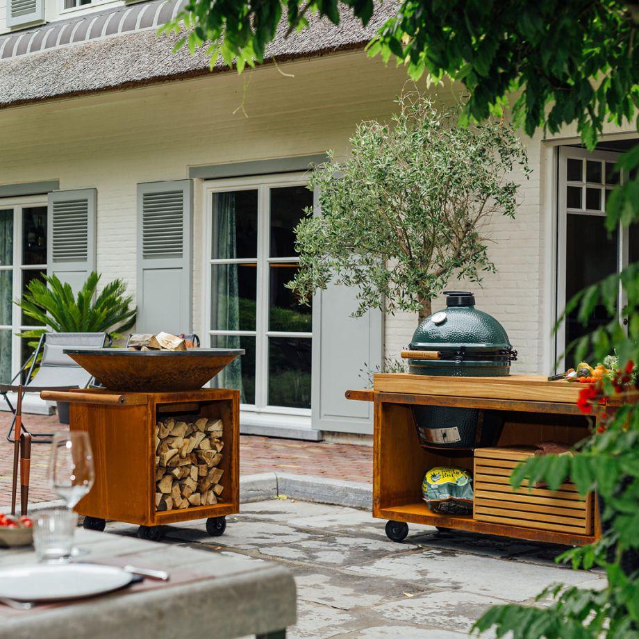OFYR Kamado BGE Table Corten 135 PRO Teak Wood