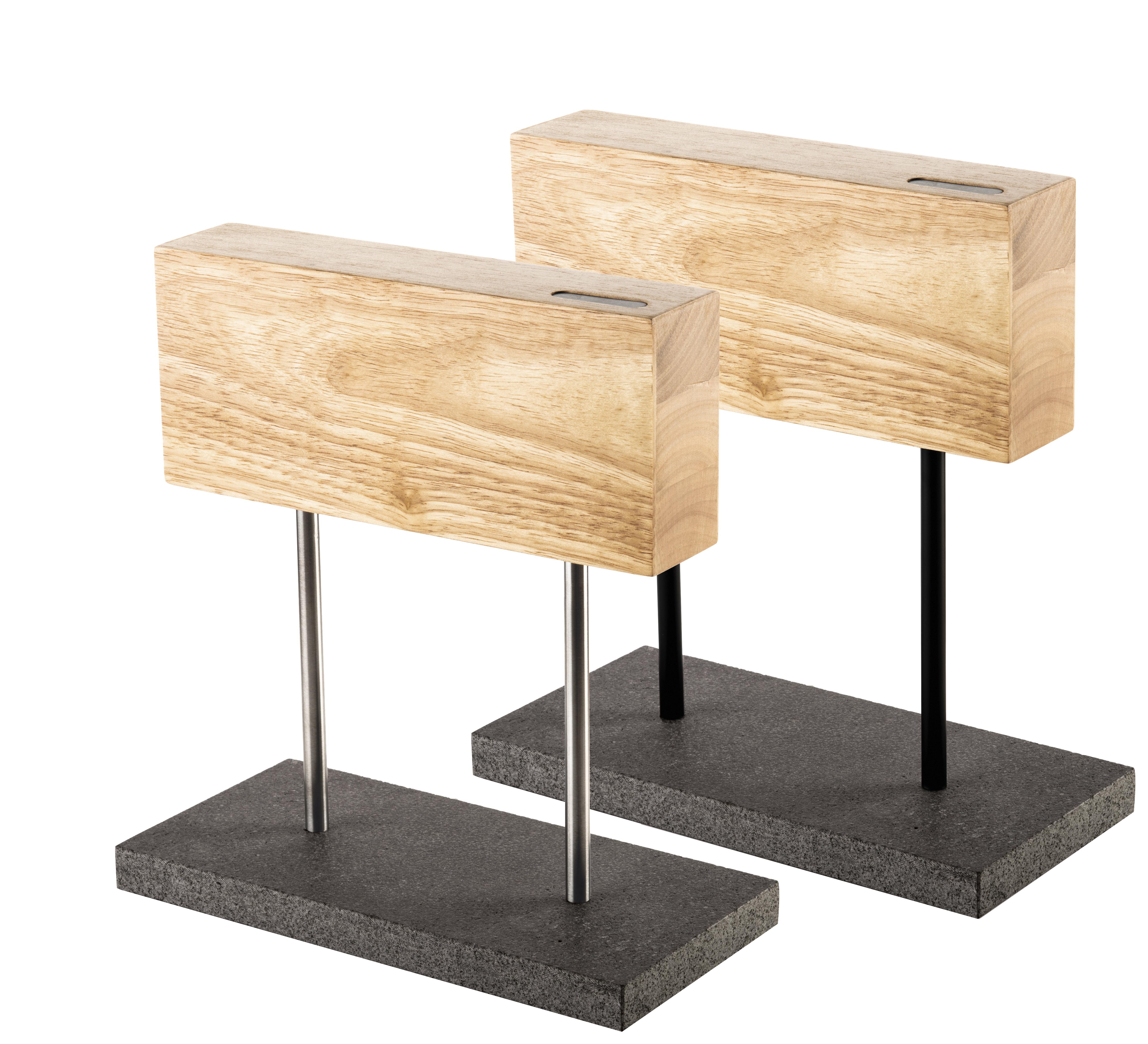 Messerblock magnetisch Eichenholz mit Steinsockel